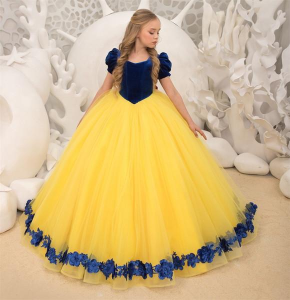 Compre Bella Bestia Inspirada Fiesta De Cumpleaños Para Niñas Vestidos Para Eventos Formales 2019 Princesa Girls Vestir Vestido Royal Yellow