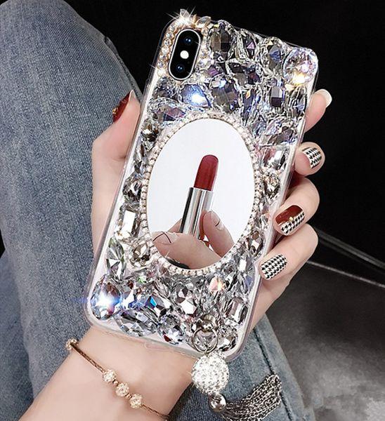 Shining phone case cheio de diamantes strass com borla espelho capa para iphone x xr xs max 8 7 6 6 s plus para mulheres presentes