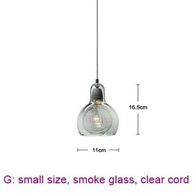 small, smoke glass, clear cord