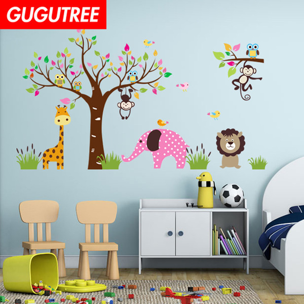 Decorate Home trees deer cartoon art wall sticker decoration Decals mural painting Removable Decor Wallpaper G-1953