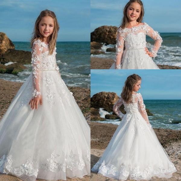 2019 Princess Beach Jewel Lace Appliqued Flower Girl Dresses Cap Sleeves Court Train Kids Flower Girls Pageant Gowns