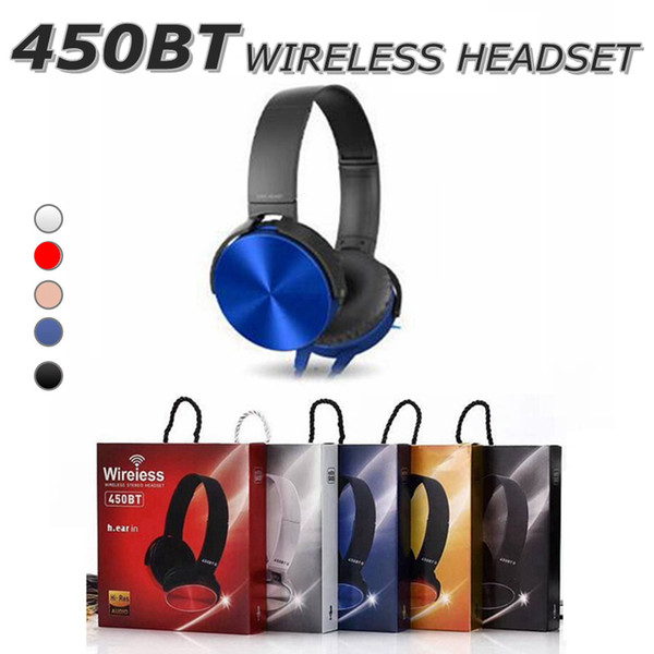 top popular 450BT Wireless Headphones Bluetooth Headset Music Player Retractable Headband Surround Stereo Earphone with Mic for PC Smartphone MP3 in Box 2021