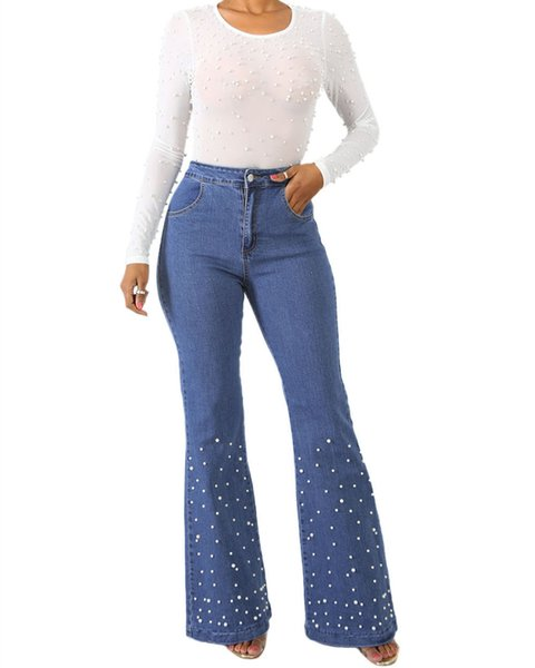 lista nueva claro y distintivo brillo de color 2019 Flare Denim Jeans High Waist Pants Stretch Skinny Long Jeans Women'S  Wide Leg With Pearly Detail Slim Ladies Denim Trousers Pantalones MS797  From ...