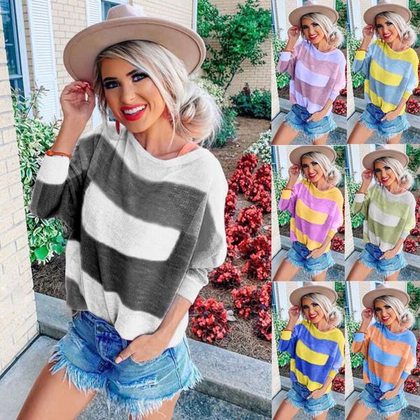 2019 Rahat Uzun Kollu T Gömlek Gevşek Artı Boyutu Kadın T Gömlek Şerit Kadınlar Baskılı Sonbahar Moda Kadınlar Pıhtı Tops