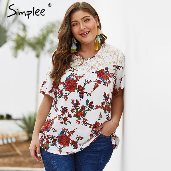 Sencillo encaje blanco estampado floral de las mujeres más tamaño blusa camisa Elegante boho manga corta camisa de algodón damas de vacaciones de verano tees