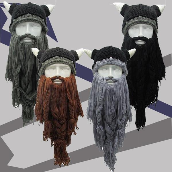2018 Novelty Mens Christmas Hats Knitted Viking Beard Horn Hats Ski Cap Barbarian Vagabond Beanies Cotton