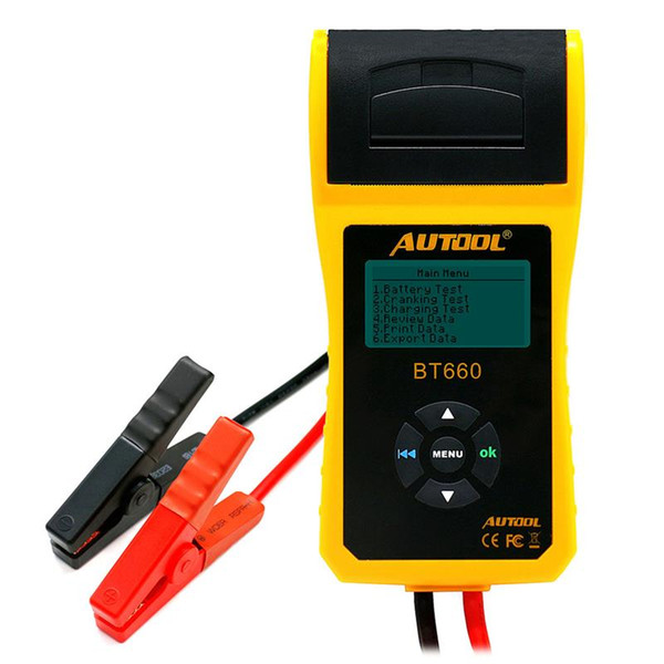 BT660 Car Battery Tester With Print 12V 24V Digital Automitve Analyzer Built-in Thermal CCA Auto Portable Diagnostic Tool