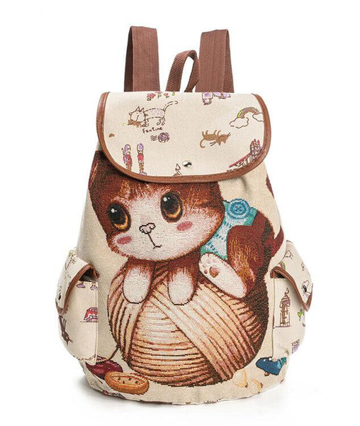 new high quality canvas Lovely embroidered cat, love book, female Canvas Backpack shoulder bag, justin bieber shark Back pack free shipping
