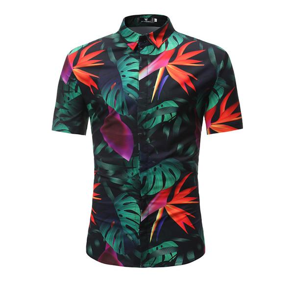Chegada nova Mens Camisa Havaiana Masculina Casual Camisa Masculina Deixa Impresso Camisas de Praia Roupas de Manga Curta