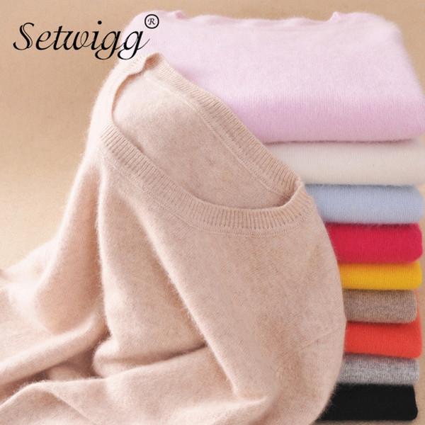Pullover autunno inverno in cashmere Pullover donna o collo con scollo a V Breve maglia donna Solid Lady Sheep Lady Basic