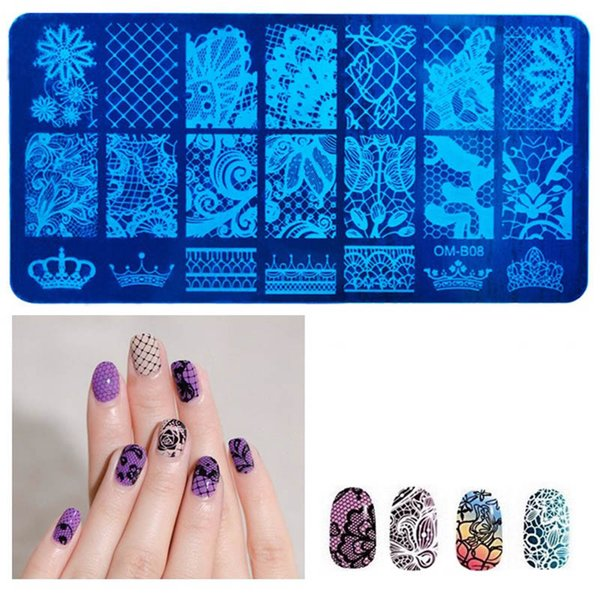 1 PC Fahion Nail Art Carimbar Placa Padrão DIY Crown Planta Geométrica Manicure Template Template Festival Nails Stencil Ferramentas