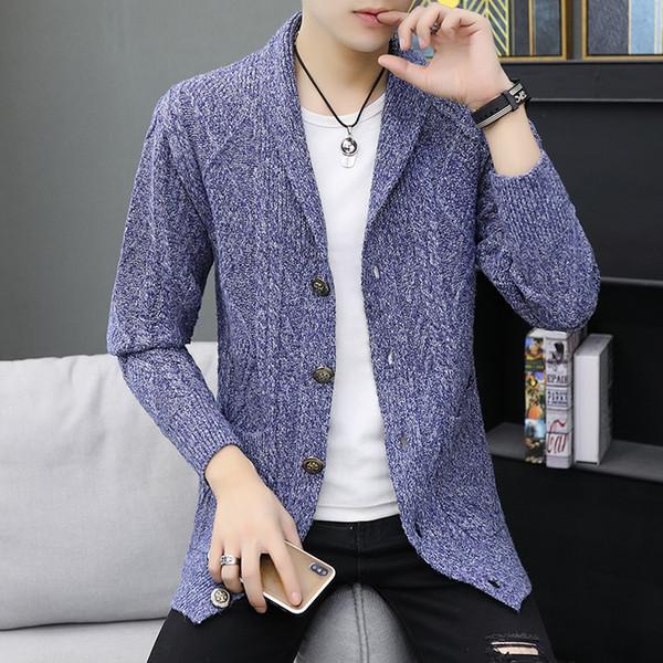 2019 torção Vintage Outono-Inverno Sweater Men Único Breasted lã jaqueta corta-vento Sólidos Turn-Down Collar Sweatercoat Masculino