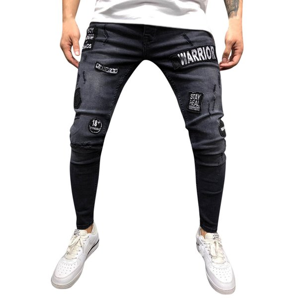 Jeans Men Plus Size Men Casual Men's Fashion Letter Jeans For Denim Pants Folds Wash Work Ankle Pencil Trousers homme