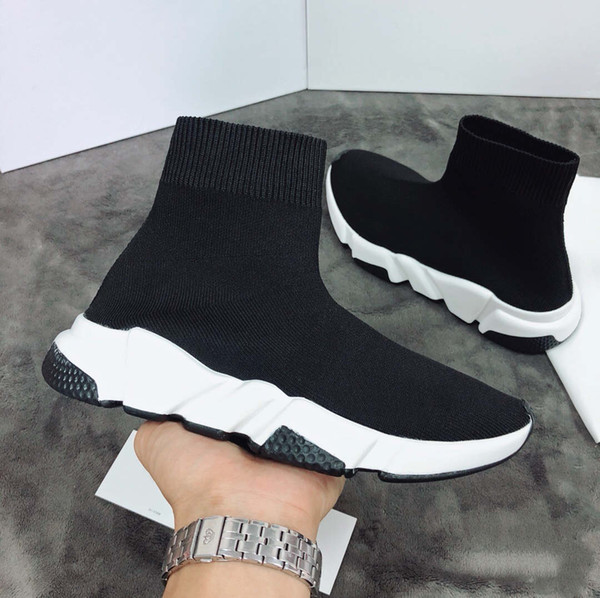 Новый 2019 мужчины и женщины дизайнеры кроссовки скорость тренер моды плоские носки сапоги повседневная обувь скорость тренера работает с мешком для пыли 35-45