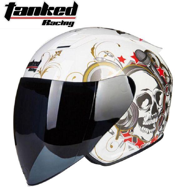2019 New Knight protection Tanked Racing Half Face Motorcycle Helmet ABS Motorbike Helmets PC Lens Visor Four seasons universal