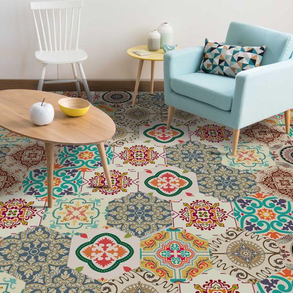300x20cm/Set Baroque Style Non-Slip Floor Tile Sticker Peel & Stick Tiles Floor Decal Stencil for Painting Floors DIY Wallpaper Spanish