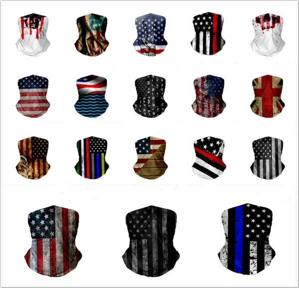 top popular Customized Unisex Seamless Hip Hop American Flag Bandanas Mask Magic Headscarf Face Shield Outdoor Cycling Fishing Riding Bandanas Scarves 2021