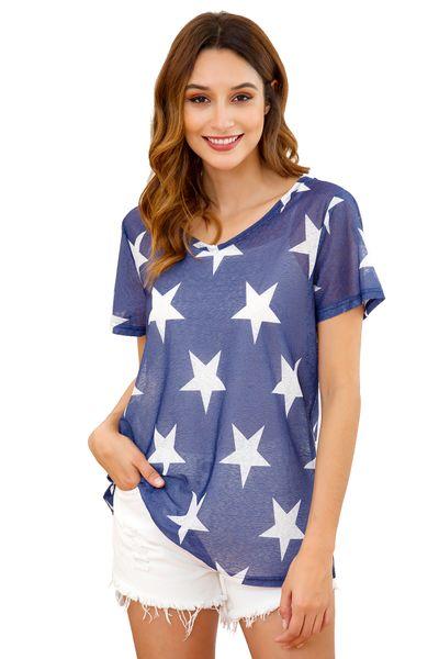Sommer Polyester Cool Durchsichtiger V-Ausschnitt Kurze Ärmel Pentagramm Fünfzackiger Stern Druck Dame Beiläufige Lose Pullover Tops T-Shirt Bluse