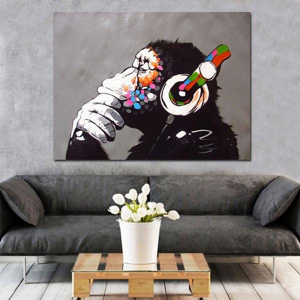 Estratto scimmia fai da te pittura dai numeri della parete della casa di illustrazioni per vernice dai numeri Calligrafia pittura 40x50cm Opera Home Decor