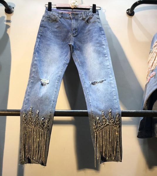 Отверстия Denim Pants Lady 2019, весна, лето. Новые толстые узкие джинсы с завышенной талией и бусинами с завышенной талией.