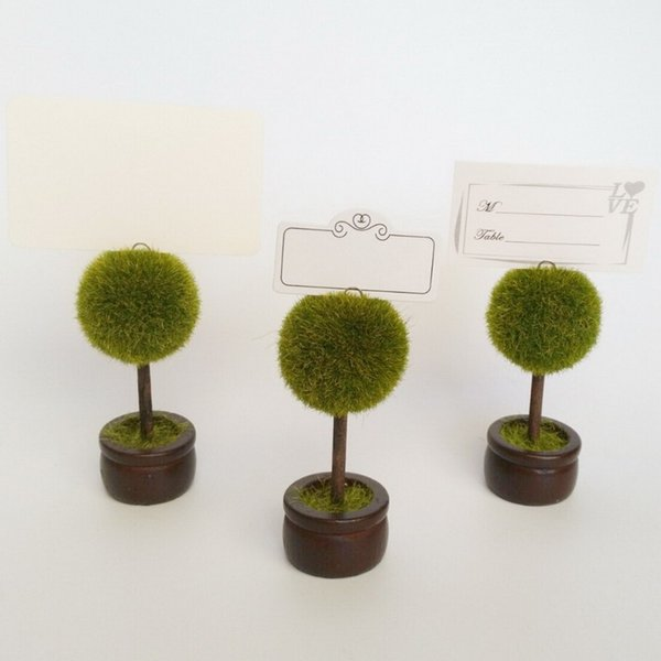Green Fuzzly Ball Tree Bonsai Place Card Holder Seat Clip Table Name Wedding Favors Party Gifts DHL Free Shipping