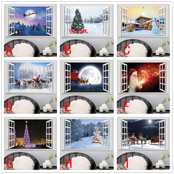 Christmas Wall Decals Removable.Diy 3d Christmas Wall Stickers Removable False Window Sticker Art Mural For Living Room Bedroom Tv Wall Decoration Home Decals Peelable Wall Decals