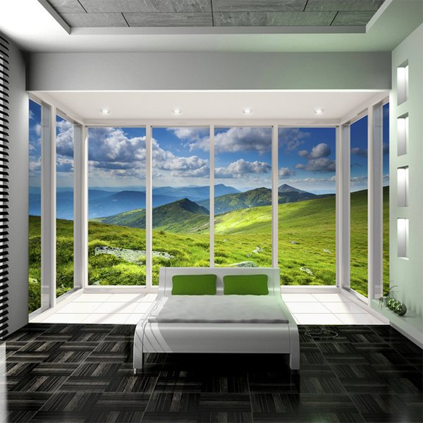 Custom Size French Window Grassland Landscape Photo Wallpaper 3D Blue Sky and White Clouds Natural Scenery Murals Wall Papers Home Decor