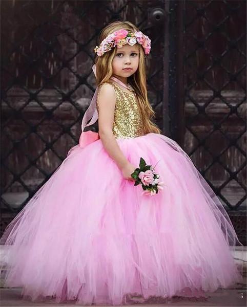 2019 mangas princesa rosa flor meninas vestidos lantejoulas vestido de baile meninas primeiro vestido de comunhão