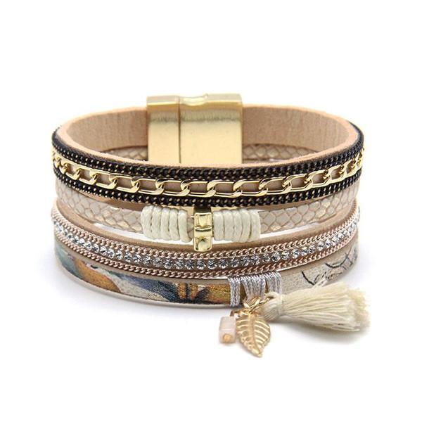 Venta al por mayor- Moda mujer moda Rhinestone conjunto piedra natural conjunto imán hebilla Wrap cuero pulsera pulsera joyería