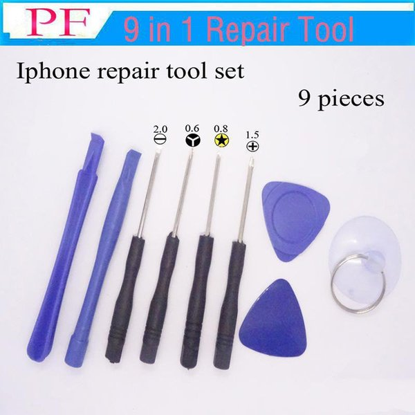 Cell Phone Reparing tools 9 in 1 Repair Pry Kit Opening Tools Pentalobe Torx Slotted screwdriver For Apple iPhone 4 4S 5 5s 6 moblie phone