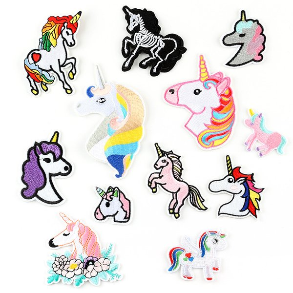 Cartoon Animal Unicorn Embroidery Patches Fabric Sew Iron On Applique Patch Badge DIY Apparel Badges For Baby Kids Clothes Jeans Bag