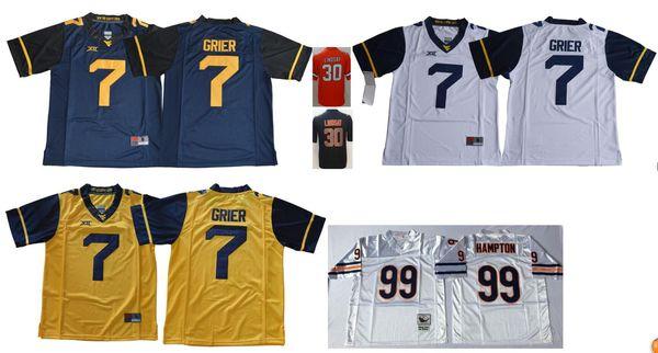 West Virginia Mountaineers #7 Will Grier Mens Vintage College Denver 30 Phillip Lindsay 99 Dan Hampton Color Rush American Football Jerseys