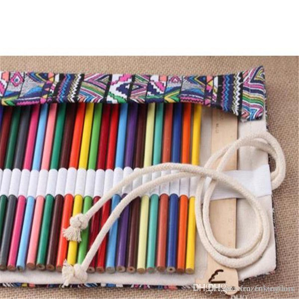 108 Holes Canvas Roll Up Pencil Wrap Pouch Holder Case, Handmade Pen Bag Painting Drawing Pencils Storage Holder Vintage Stationery