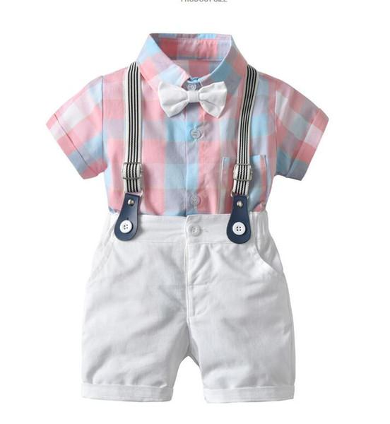 Vêtements de cérémonie pour les enfants de coton pur à manches courtes bavette costumes 2PC Set beaux garçons Gentleman costume avec cravate