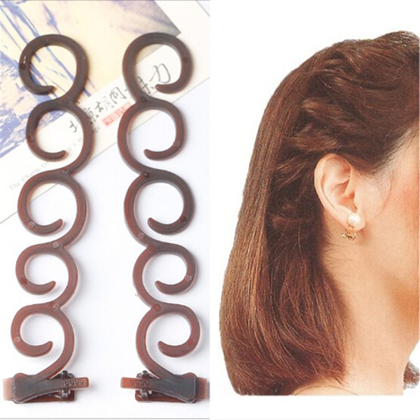 2Pcs Fashion Women Magic Hair Twist Centipede Styling Braid Clip Stick Bun Maker DIY Tool Hair Accessories Girls