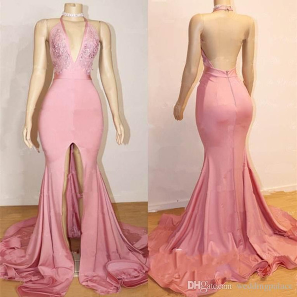 New Pink Halter Deep V-Neck Mermaid Prom Dresses Sexy Backless Sleeveless A-Line Front Split Pattern Popular Party Evening Dresses Prom Gown