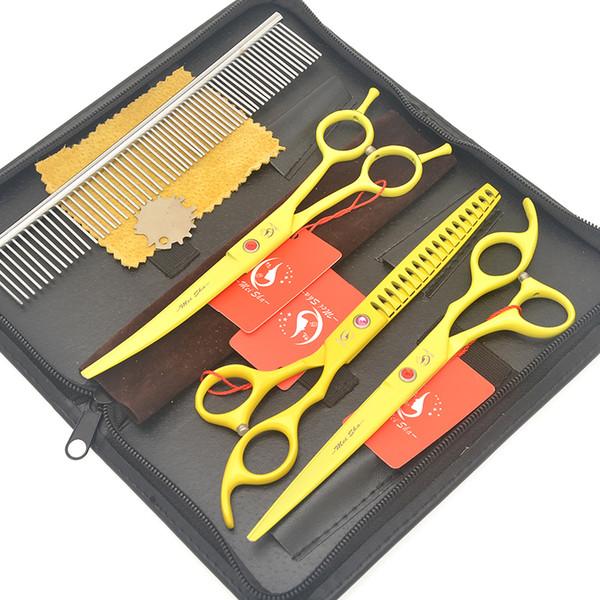 7.0 Inch Meisha Pet Grooming Scissors Set Japan Steel 440C Straight Curved Small Animals Hair Cutting Shears Dog Fur Thinning Tijeras HB0199