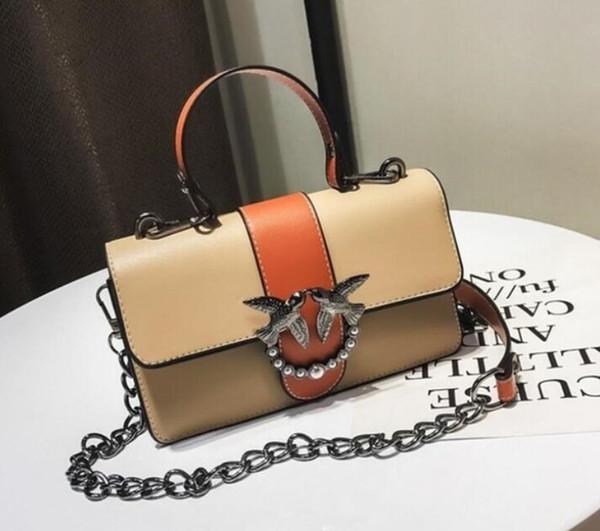 2019 High quality women European fashion brand new PU Leather chain flap handbag shoulder bag tote purse EL02