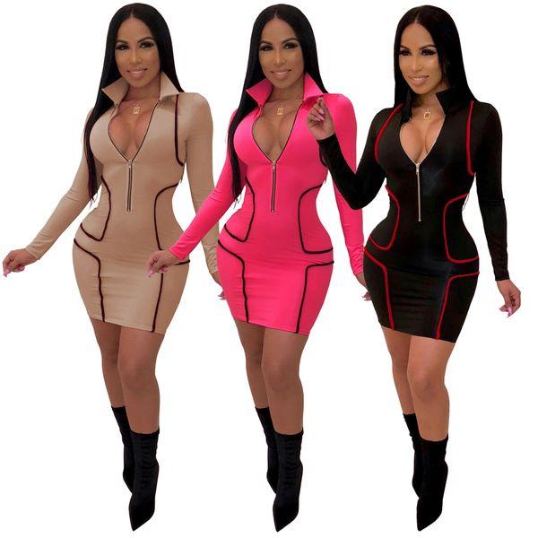 Women Deep V Bodycon Dresses Front Zipper Designer Pencil Dress Slim Fit Skinny Dress