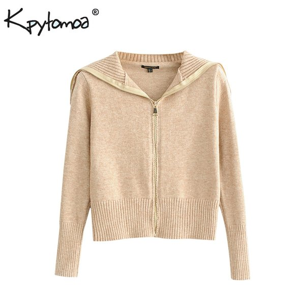 Vintage Stylish Zipper Knitted Sweater Women 2018 Fashion Cardigans Long Sleeve Lapel Collar Ladies Outerwear Casual Pull Femme