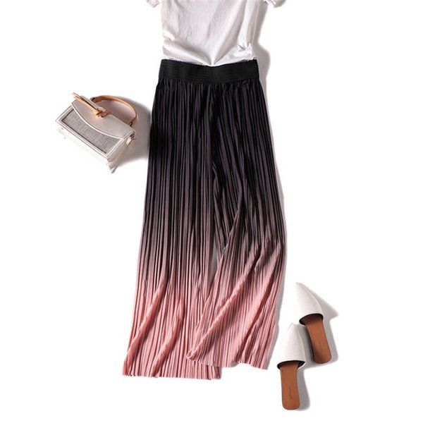 New Fashion Women Chiffon Wide Leg Pant Casual Ankle-length Pleated Pant Summer Female Eastic Waist Thin Pants Trousers Wz467 Q190510