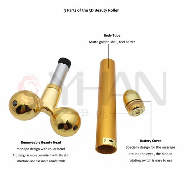 Sollevamento facciale elettrico 24k oro viso bellezza vibrazione rullo massaggiatore bastone viso cura della pelle bastone sollevamento rassodante