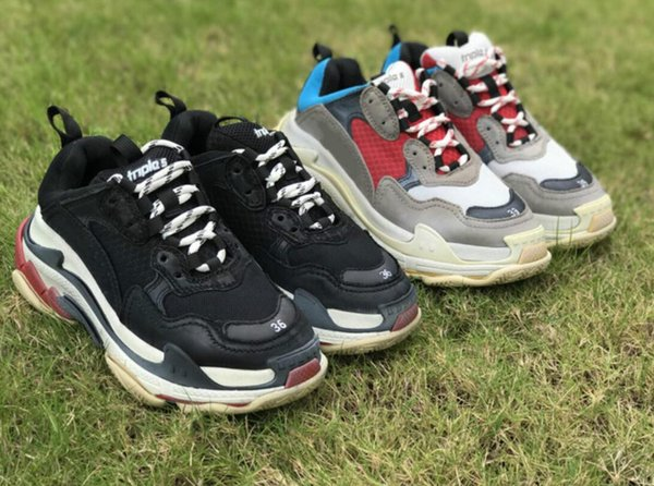New2019 New pumps munr Triple S Shoes Man Woman Sneaker High Quality Mixed Colors Thick Heel Grandpa Dad Trainer Triple-S Casual Shoes With