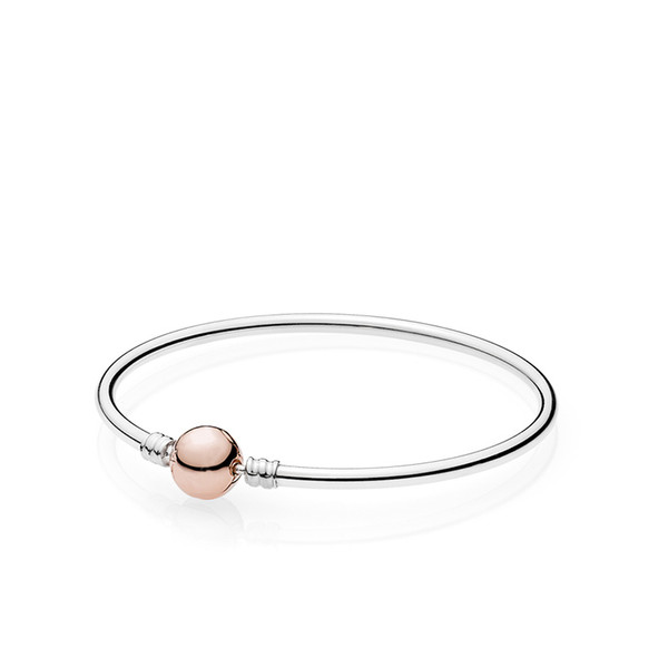 925 Sterling Silver Bangle Bracelet Set Original Box for Pandora Rose gold Clasp Charm Bangle for Men Women Gift Jewelry