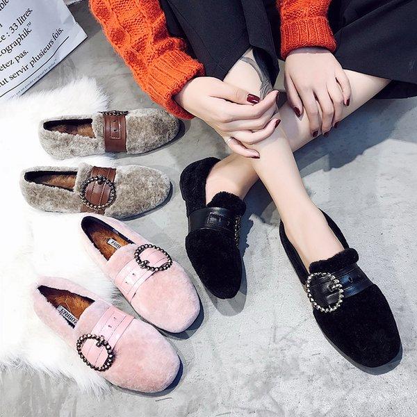 2018 chaussures d'hiver chauds femme bande de cuir cristal boucle fourrure appartements épaississement chaussures plates en peluche dames mules mocassins s309