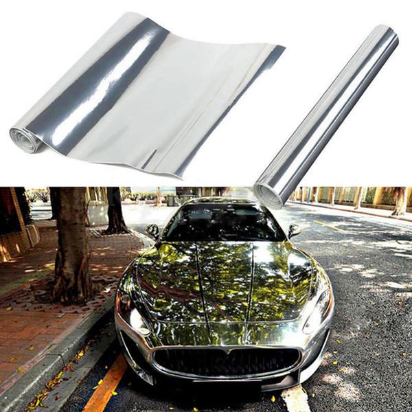 Silber Chrome DIY Autokörperfolien Glänzende Farbe Auto Fahrzeug 3D Vinyl Film Wrap Aufkleber Vinyl Aufkleber Air Release Film