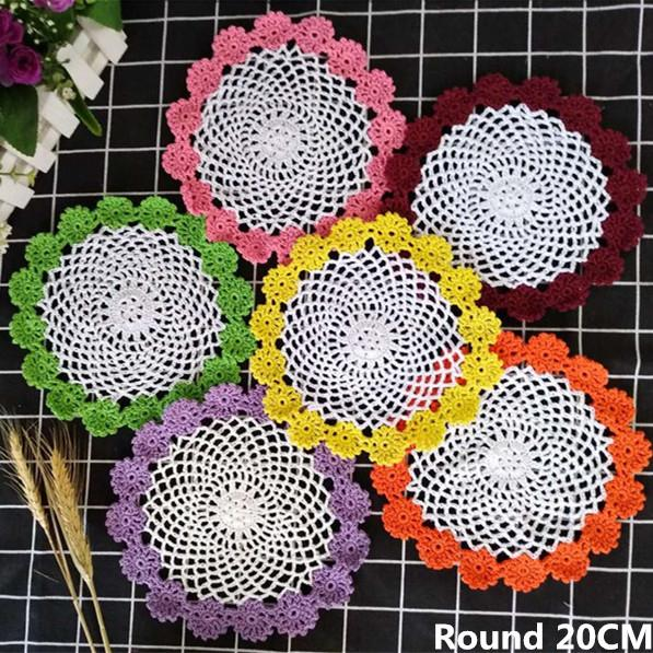 20CM Round Delicate Cotton Flowers Lace Placemats Christmas Crochets Coffee Drink Mat Dining Table Pad Wedding Doily Coasters