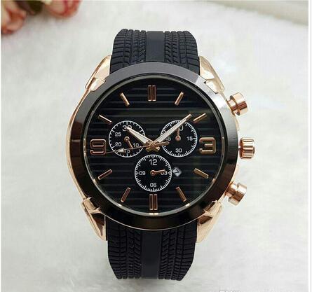 2017 Nueva Moda de Lujo Fecha Automática Relojes Hombres Famosos Hombres Reloj de Cuarzo Reloj de pulsera de Oro Negro Correa de Silicona Oro Rosa Relogio masculino