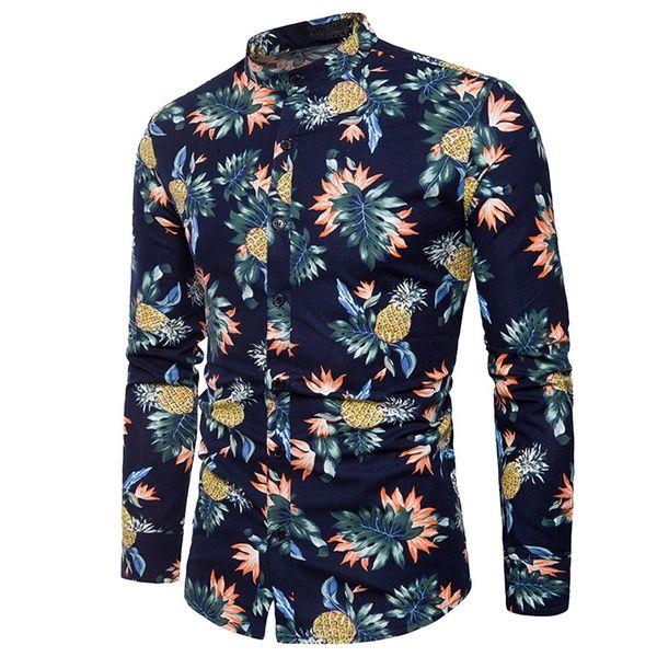 WENYUJH 2019 High Quality Spring Fashion Mens Hawaii Shirt Long Sleeves Men Fruit Print Holiday Style Shirt Slim Fit Mens Shirts