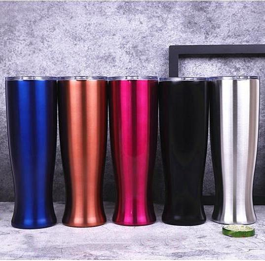 best selling Straight CupStainless Steel Beer Mugs Double Layer Travel Vase Tumbler Portable Originality Vacuum Coffee Cup With Clear Lid 20OZ TLZYQ1471
